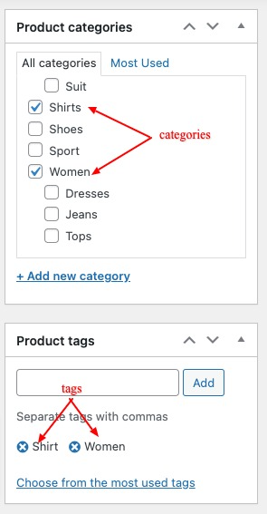 WooCommerce Product Categories and Tags
