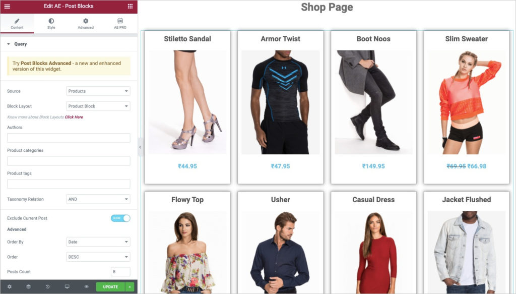 WooCommerce Shop page - Post Block