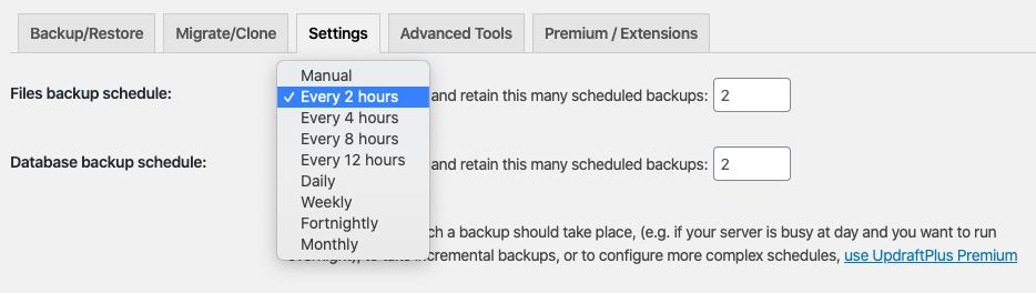 Updraftplus website backup settings