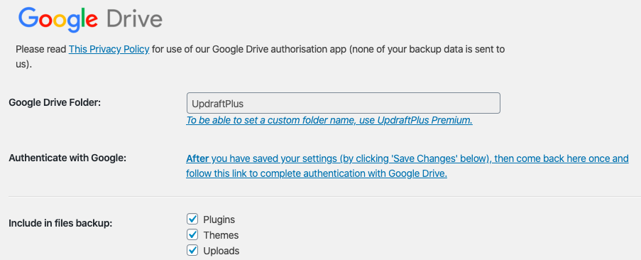 Website backup save on Google drive
